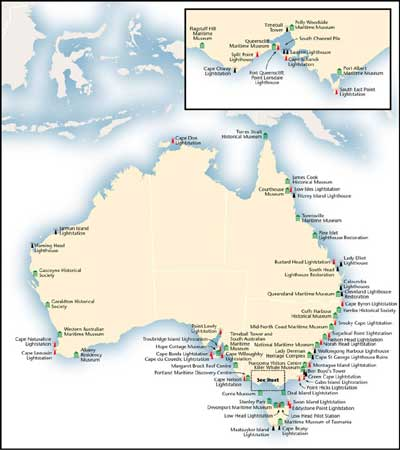 Map of Australia showing Museum Locations